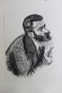 Portrait de Bertillon, durant le procès Dreyfus. Collection particulière de l'auteur.